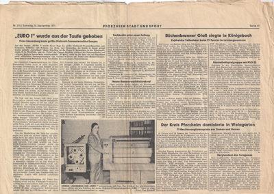 Zeitungsartikel Euro1 Fliehkraft-Trommelmaschine